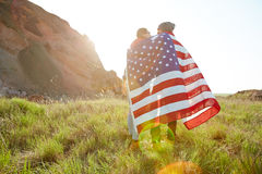 Tourists Hiking in America Stock Image