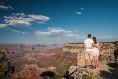 Tourists hiking at Grand Canyon Royalty Free Stock Images