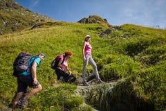 Tourists hiking on mountain trail Stock Photos