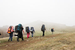 Tourists hiking through plateau. Stock Photography
