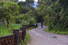 Tourists hiking and riding a bike in Baños, Ecuador. Tourists traveling by the road that leads to Baños, in Ecuador stock photography