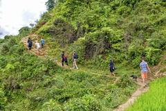 Tourists hiking in Sa Pa, Vietnam Royalty Free Stock Photo