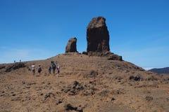 Tourists hiking to Roque Nublo Royalty Free Stock Photos