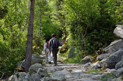 Tourists in the hiking trail Royalty Free Stock Photography