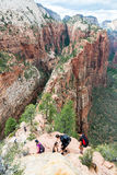 Tourists Hiking in Zion National Park Royalty Free Stock Images