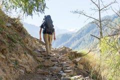 Tourists himing in trek of Nepal. Trekking in Langtamg valley of Nepal Himalaya Royalty Free Stock Photo