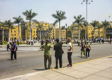 Tourists at the Historic Center of Lima in Peru Stock Photos