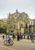 Tourists at the Historic Center of Lima in Peru Royalty Free Stock Photo