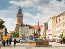 Tourists the historic old town of Görlitz. GOERLITZ, GERMANY - AUGUST 23: Tourists at the old town of Goerlitz, Germany on August 23, 2016. The historic town royalty free stock images