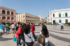 Tourists on the historic Senado Square in Macau Royalty Free Stock Photo