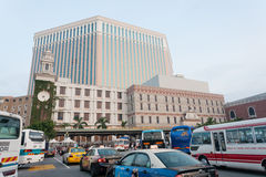 Tourists on the historic Senado Square in Macau Royalty Free Stock Photography