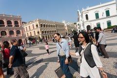 Tourists on the historic Senado Square in Macau Royalty Free Stock Image