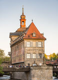 Tourists at the historic town hall of Bamberg Stock Images