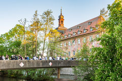 Tourists at the historic town hall of Bamberg Royalty Free Stock Photography