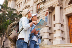Tourists historical building Stock Photo
