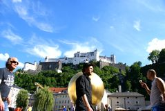 Tourists in the historical center of Salzburg,Austria Stock Photography