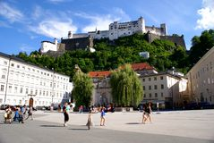Tourists in the historical center of Salzburg,Austria Royalty Free Stock Photo