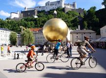 Tourists in the historical center of Salzburg,Austria royalty free stock images