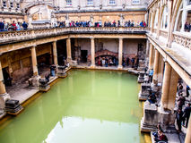 Tourists in the history site Roman Bath, UK Royalty Free Stock Image