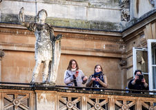 Tourists in the history site Roman Bath, UK Royalty Free Stock Images