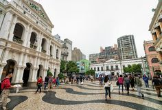 Tourists at Holy House of Mercy on Senado Square in Macao stock image