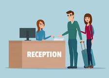 Tourists at hotel reception. Business cartoon concept Vector Royalty Free Stock Images