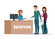 Tourists at hotel reception. Business cartoon concept Vector Royalty Free Stock Photo