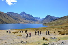 Tourists at the Huascarán National Park, in Huaraz, Peru Stock Photo