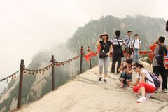 Tourists at Huashan Mountain in China Stock Images