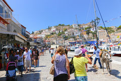 Tourists at Hydra - Greece island Royalty Free Stock Photos