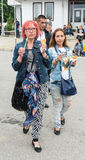 Tourists with ice cream at the Nestinarski Games in Bulgaria Royalty Free Stock Photo