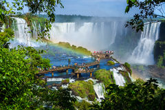 Tourists at Iguazu Falls, Foz do Iguacu, Brazil Royalty Free Stock Photos