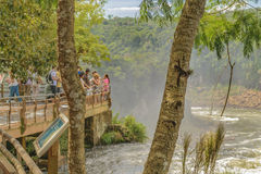 Tourists At Iguazu Park at Argentinian Border Royalty Free Stock Images