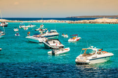 Tourists in Illetes beach Formentera island, Mediterranean sea, Royalty Free Stock Image