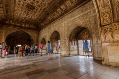 Tourists impressed by the hall Royalty Free Stock Images