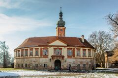 Free Tourists In Libechov, Old Abandoned Baroque Castle In Central Bohemia,Czech Republic.Romantic Building With Tower,red Royalty Free Stock Photography - 211869767