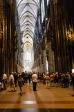 Tourists indoor of Cologne Cathedral stock photo