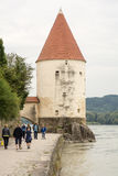 Tourists at the Inn Promenade in Passau Royalty Free Stock Photo