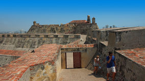 Tourists inside the Castillo San Felipe de Barajas is a fortress in the city of Cartagena Stock Photography
