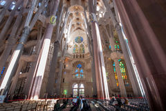 Tourists inside of  La Sagrada Familia Stock Photography