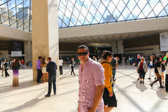 Tourists inside the Louvre - Paris Royalty Free Stock Images