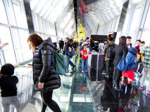 Tourists inside Shanghai Global Finance Center Royalty Free Stock Images