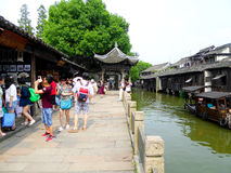 Tourists inside Wuzhen ancient town Royalty Free Stock Images
