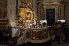 Tourists in the interiors of Saint Isaac`s Cathedral. Stock Photos