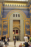 Tourists in Ishtar Gate Hall of Pergamon Museum Stock Photo