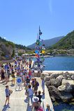 Tourists at Ithaca island port. Many tourists at Ithaca island port pier,Ionian Sea,Greece stock photos