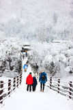 Tourists in Japan at winter. Family of mother and kids crossing the bridge over Shogawa river at historic Japanese village Shirakawa-go at winter, one of Japan's Stock Photos
