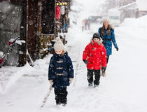 Tourists in Japan at winter Royalty Free Stock Images