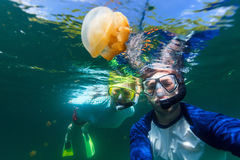 Tourists in Jellyfish Lake. Underwater photo of couple snorkeling with endemic golden jellyfish in lake at Palau. Snorkeling in Jellyfish Lake is a popular Stock Photo