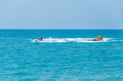 For tourists on jet skis swim rescuers Royalty Free Stock Photography